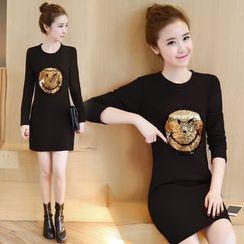 Emeline - Long-Sleeve Smile Face A-Line Dress