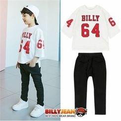 BILLY JEAN - Kids Set: Elbow-Sleeve Lettering T-Shirt + Harem Pants