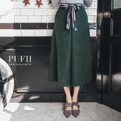 PUFII - 正韩几何腰带宽裤