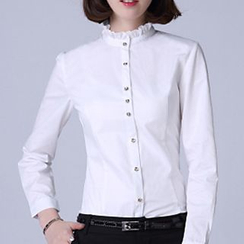 Caroe - Frilled Stand Collar Shirt