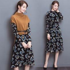 Vigoroso - Set: Floral Print Long Sleeve Midi Dress + Turtleneck Short Sleeve Knit Top