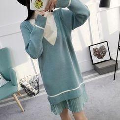Asally - Pleated Hem Color Block Sweater Dress
