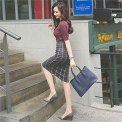 ode' - Slit-Front Plaid Pencil Skirt