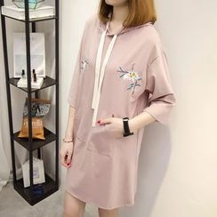 anzoveve - 3/4-Sleeve Embroidered Hooded T-Shirt Dress