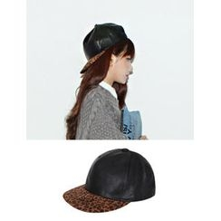 URBAN LADY - Leopard Trim Faux Leather Cap