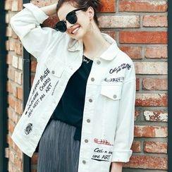 MOFFI - Letter Embroidered Denim Jacket