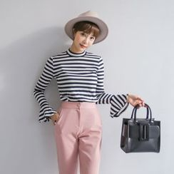 PPGIRL - Bell-Sleeve Striped Top