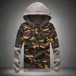Alvicio - Camouflage Mock Two-piece Hoodie