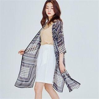 MAGJAY - 3/4-Sleeve Patterned Long Robe Cardigan