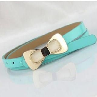 Charm n Style - Bow-Accent Faux-Leather Slim Belt