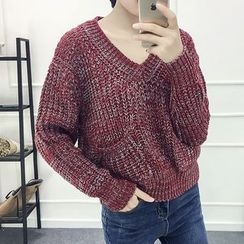 Melon Juice - V-Neck Chunky Knit Sweater