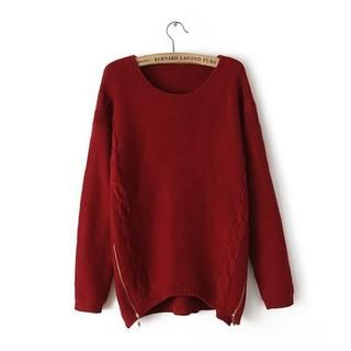 JVL - Zip-Side Cable-Knit Sweater