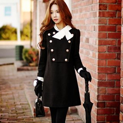 Dabuwawa - Wool Blend Long-Sleeve Buttoned Dress