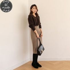 WITH IPUN - High-Waist Buckled Skirt