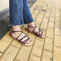 时尚麦乐 - 交错带平底凉鞋