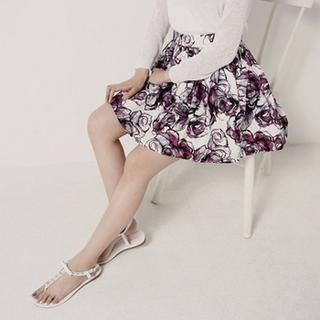 SARAH - Patterned Pleated A-Line Skirt