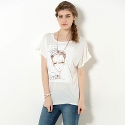 YesStyle Z - Jeweled Girl Print T-Shirt