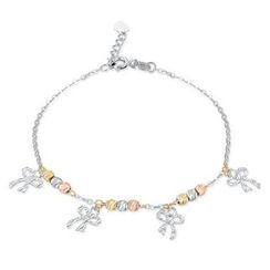 MaBelle - 14K Yellow, Rose And White Gold Diamond Cut Ribbon and Beads Bracelet (17.5cm)