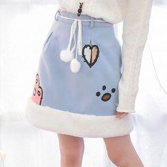 Moriville - Furry Hem Printed A-Line Skirt