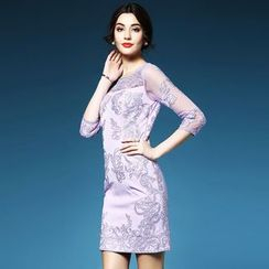 Elabo - Embroidered 3/4 Sleeve Sheath Dress