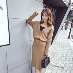 RUI - Set: Plain Cardigan + Midi Knit Skirt
