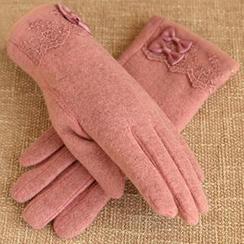 羚羊早安 - 蕾絲邊羊毛混紡手套