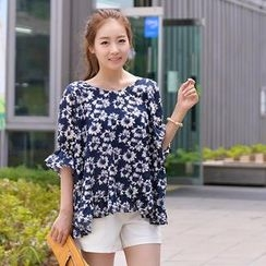 CLICK - Elbow-Sleeve Floral Print Top