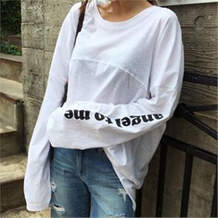 QNIGIRLS - Lettering Long-Sleeve T-Shirt