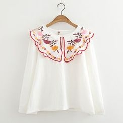 ninna nanna - Embroidered Collar Blouse
