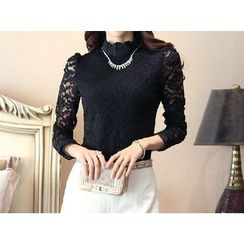 Zyote - Long-Sleeve Lace Panel Top