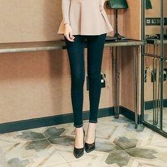Seoul Fashion - Stitched Brushed-Fleece Lined Skinny Jeans