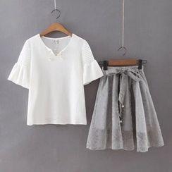 Ainvyi - Set: Short-Sleeve Top + Organza A-Line Skirt