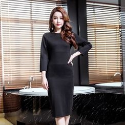 Clospace - Embellished Long-Sleeve Sheath Dress