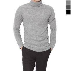 Seoul Homme - Mock-Neck Plain Knit Top