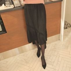 Cherryville - Ruffle-Ham Pleated Long Skirt