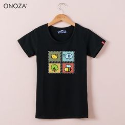 Onoza - Short-Sleeve Cat-Print T-Shirt