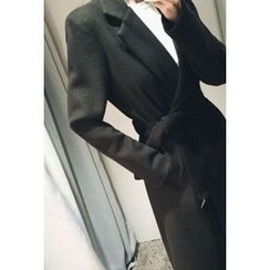 ATTYSTORY - Double-Breasted Wool Blend Coat With Sash