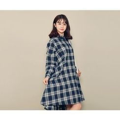 HOTPING - Checked A-Line Shirtdress