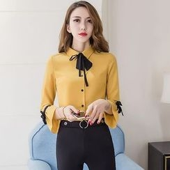 Merald - Bell Sleeve Bow Neck Blouse