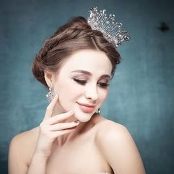 Nymphie - Rhinestone Earrings / Set: Rhinestone Earrings + Tiara