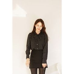 CHERRYKOKO - Tie-Neck Patterned Blouse