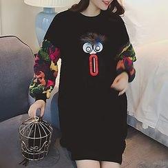 lilygirl - Cartoon Applique Fleece Pullover Dress