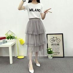 Ashlee - Set: Lettering T-Shirt + Tiered Midi Skirt