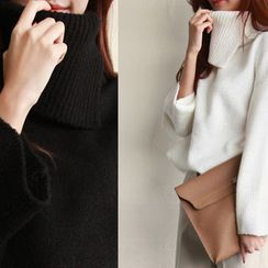 NIPONJJUYA - Slit Turtle-Neck Wide-Sleeve Knit Top