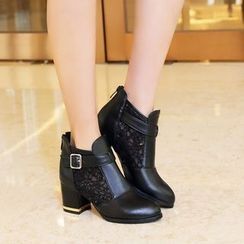 Shoes Galore - Block Heel Lace Panel Ankle Boots
