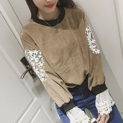 Bloombloom - Lace Panel Corduroy Sweatshirt