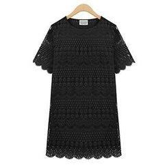 米兰阁 - 圆领蕾丝镂空钩花短袖女式T恤打底衫