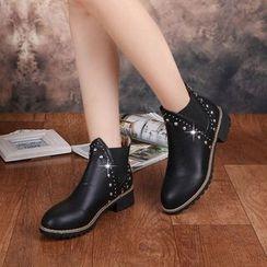 楊董 - 鉚釘低跟及踝靴