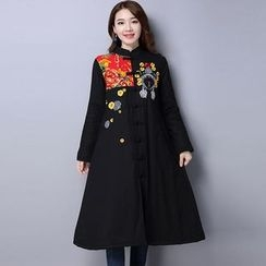 Diosa - Floral Print Panel Embroidered Long Padded Coat