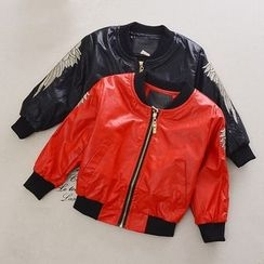 OLMO - Kids Wing Embroidered Faux Leather Bomber Jacket